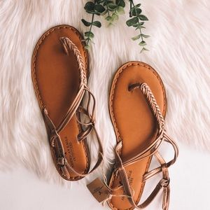 American Eagle Rose Gold Braided Sandals